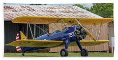 Stearman And Old Hangar Bath Towel