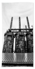 Steel Stacks - The Bethehem Steel Mill In Black And White Bath Towel by Bill Cannon