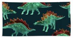 Stegosaurus Hand Towel by Varpu Kronholm