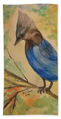 Bath Towel featuring the painting Stellar Jay - Autumn #3 by Maria Urso