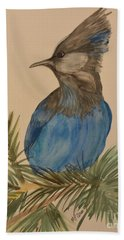 Bath Towel featuring the painting Stellar Jay - Summer #2 by Maria Urso