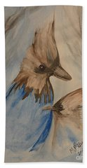 Bath Towel featuring the painting Stellar Jay - Winter #4 by Maria Urso