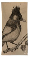 Stellar's Jay - Charcoal Bath Towel by Maria Urso