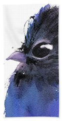 Bath Towel featuring the painting Steller Jay by Dawn Derman
