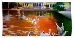 Bath Towel featuring the painting Stephens Green Dublin Ireland by Paul Weerasekera