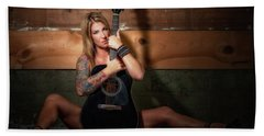 Stephanie W/guitar Sitting Hand Towel