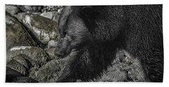 Stepping Into The Creek Black Bear Bath Towel