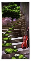 Steps Of Happiness Bath Towel by Mihaela Pater
