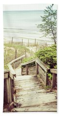 Bath Towel featuring the photograph Steps To Lake Michigan by Joel Witmeyer