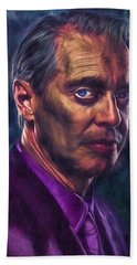 Steve Buscemi Actor Painted Bath Towel by David Haskett