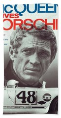 Steve Mcqueen Drives Porsche Hand Towel