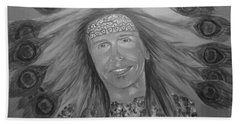 Hand Towel featuring the painting Steven Tyler Art by Jeepee Aero