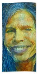 Hand Towel featuring the painting Steven Tyler by Paul Van Scott