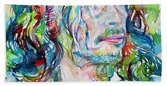 Steven Tyler - Watercolor Portrait Hand Towel