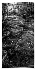 Bath Towel featuring the photograph Stevensville Brook In Underhill, Vermont - 2 Bw by James Aiken