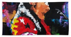 Bath Towel featuring the painting Stevie Wonder Live by Richard Day