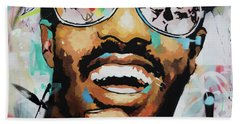 Hand Towel featuring the painting Stevie Wonder Portrait by Richard Day