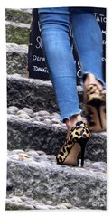 Bath Towel featuring the photograph Stiletto,steps And Stones by Jennie Breeze