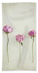 Still Life Of Dried Peonies With Texture Overlay Bath Towel