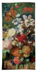 Still Life Of Flowers And A Bird's Nest On A Pedestal  Hand Towel