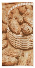 Still Life Peanuts In Small Wicker Basket On Table Hand Towel