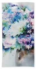 Still Life Rose Bouquet Watercolour Bath Towel