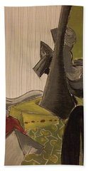 Still Life With A Black Horse- Cubism Bath Towel