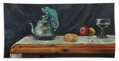 Still Life With A Chameleon Hand Towel by Maja Sokolowska