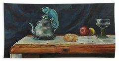 Still Life With A Chameleon Bath Towel by Maja Sokolowska