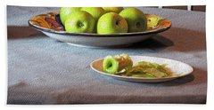 Still Life With Apples And Chair Bath Towel by Lynda Lehmann