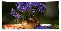 Still Life With Blue Flowers Hand Towel