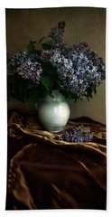 Bath Towel featuring the photograph Still Life With Bouqet Of Fresh Lilac by Jaroslaw Blaminsky