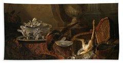 Still Life With Dead Game And A Silver Tureen On A Turkish Carpet Hand Towel