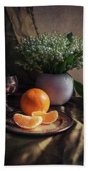 Bath Towel featuring the photograph Still Life With Fresh Flowers And Tangerines by Jaroslaw Blaminsky