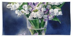 Still Life With Lilacs And Lilies Of The Valley Bath Towel by Sergey Lukashin