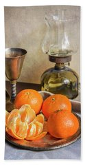 Bath Towel featuring the photograph Still Life With Oil Lamp And Fresh Tangerines by Jaroslaw Blaminsky