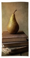 Bath Towel featuring the photograph Still Life With Old Books And Fresh Pear by Jaroslaw Blaminsky