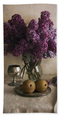 Bath Towel featuring the photograph Still Life With Pears And Fresh Lilac by Jaroslaw Blaminsky