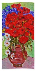 Still Life With Poppies And Blue Flowers Bath Towel