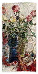Still Life With Roses Hand Towel