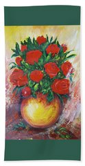 Still Life With Roses Hand Towel by Rita Fetisov