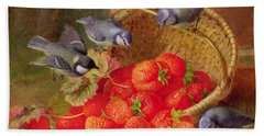 Still Life With Strawberries And Bluetits Hand Towel