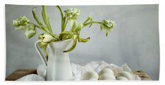 Still Life With Tulips And Eggs Bath Towel