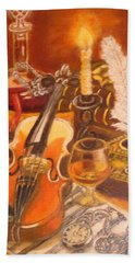 Still Life With Violin And Candle Hand Towel