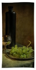 Still Life With Wine And Green Grapes Hand Towel
