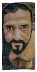 Hand Towel featuring the painting Still Wet Cristo Soto by Ron Richard Baviello