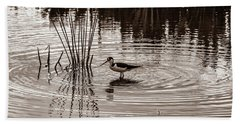Stilt Wading At Green Cay Wetlands Boynton Beach Florida Hand Towel
