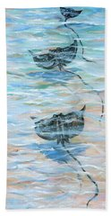 Hand Towel featuring the painting Stingrays Gliding by Linda Olsen