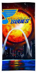 Stl Blues  Darkened Hand Towel by Justin Moore