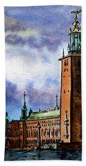 Stockholm Sweden Bath Towel by Irina Sztukowski